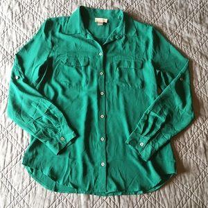 LOFT Green Button Down Blouse Size Medium